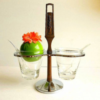 Vintage Kromex condiment server 5 piece Chrome and faux wood 1960's Mid Century handled tray serving set, Retro tableware