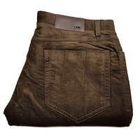Enzo Albert-114 Brown Corduroy High-end Trousers