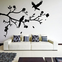 Vinyl Wall Decal Tree Branch with Falling Leafs, Birds and Flowers / Forest Nature Design Art Decor Sticker + Free Random Decal Gift!