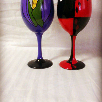 Harley Quinn And The Joker Inspired Hand Painted Wine Glasses.