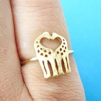 Kissing Giraffe Silhouette Shaped Animal Ring in Gold | US Size 6 Only