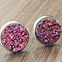 Druzy earrings- Magenta Rainbow silver tone stud druzy earrings