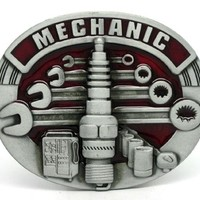 Red Mechanic Spark Plug and Wrenches Belt Buckle