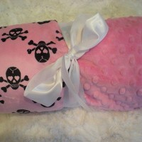 PERSONALIZED Minky Baby Blanket  Bubblegum Pink Skull by kvill