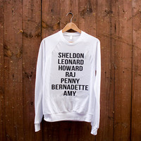 Big Bang Theory Character Pullover - American Apparel - Black on White - Sizes Unisex: S, M, L