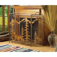 Rustic Forest Design Wrought Iron Fireplace Screen