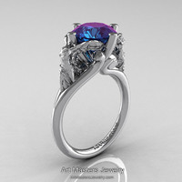 Art Masters Victory 14K White Gold 4.0 Ct Chrysoberyl Alexandrite Nike of Samothrace Engagement Ring R617-14KWGAL