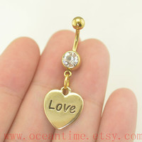 Belly Button Rings,heart Navel Jewelry,bellybutton ring,gold heart,friendship belly button ring,oceantime