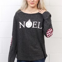 Noel w/ Christmas Bulb + Plaid Elbow Patches L/S {Charcoal}