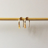 """Pair Small Gold Open Hoop Earrings, 1/2"""" Long Lightweight Modern Minimalist Design, Simple Wire Hoops, Gold Arc, Tiny Gold Filled Earrings"""