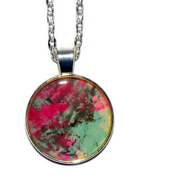 "Necklace, Handcrafted, OOAK, ""REBEL"", Free shipping, Pink, Grey, Aqua, White, Multi-color, Round pendant, Gift for her"