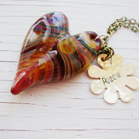 Hippie flower and boro glass heart brass necklace stamped with peace
