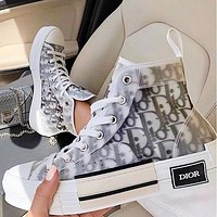 Wearwinds Dior Women Men Sneakers transparent plastic High Top Shoes White+Black Letters