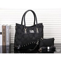 COACH New Popular Leather Tote Handbag Shoulder Bag Two Piece