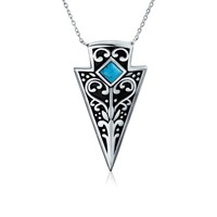 Native American Indian Style Silver Blue Arrow Head Pendant Necklace
