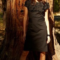 Black Floral Neck Dress with Side Zip and Tie Waist