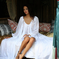 Bridal Lingerie Robe Wedding White Nylon Peignoir Peasant Sleeve Full Sweep Tie Front Dressing Gown