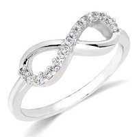 14k Gold Plated 925 Silver Forever Infinity Ring Love & Friendship Sizes 3~9:Amazon:Jewelry