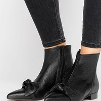 ASOS ALABAMA Leather Pointed Knot Boots at asos.com