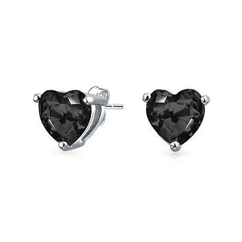 6mm Heart Stud Earring With Swarovski® Crystals - Black in 18K White