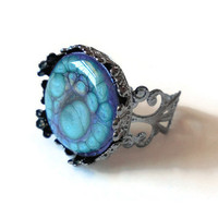 Aqua ring, gunmetal filigree ring, crown ring, adjustable ring, fashion jewelry, hand painted jewelry with aqua and violet purple