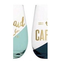 Mermaid and Captain Stemless Wine Set