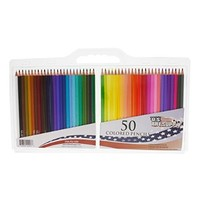 US Art Supply 50 Piece Adult Coloring Book Artist Grade Colored Pencil Set with Plastic Carry Case