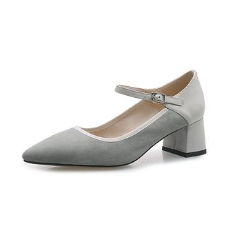 Lady Simple Leather Thick Heels Mary Janes Woman Pumps