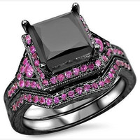 AMAZING 7.20CT BLACK PRINCES CUT 925 STERLING SILVER ENGAGEMENT AND WEDDING RING