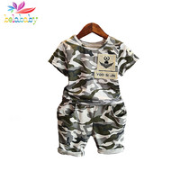 Belababy 2017 children fashion summer baby boys clothing sets 2pcs camouflage sport suit clothes sets boys girls set 2-6Y