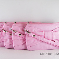 Set of 8 Light Pink Bow Clutch Bridal Clutches by lovelybag
