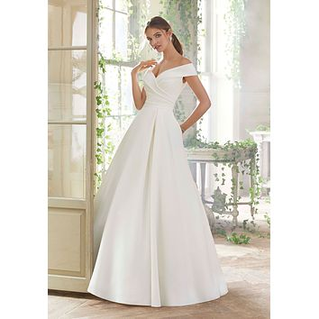 Blu by Morilee 5712 Providence Off the Shoulder Satin Ball Gown Wedding Dress