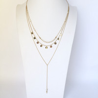 Shimy Down Layered Necklace In Gold