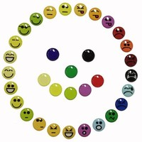 33 Pieces 3D Semi-circular Emoticons Goofy Happy Angry Smiley Faces Home Button Stickers for iPhone 5 4/4s 3GS 3G, iPad 2, iPad Mini, iTouch Orange, Green, Red, Purple, Yellow, Blue