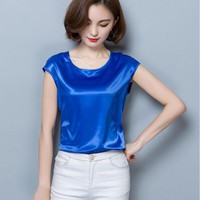Summer Women Blouses 2017 New Casual Chiffon Silk Blouse Loose Sleeveless O-neck Blusa Feminina Tops Shirts Solid 11 Color Shirt