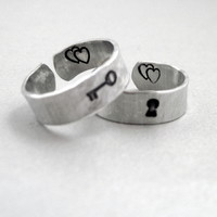 Key to my Heart - Set of TWO Rings- Hand Stamped and Hammered Aluminum Ring - Customizable with Initials or Date