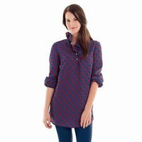 MudPie Whitney Ruffle Tunic (Red/Navy Linked Chains, Small)