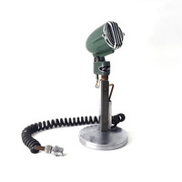 Mid Century Mic / Vintage 1960s Argonne Microphone With Stand / Retro Industrial Decor / Teal Head With Silver Cage / Radio Station Salvage