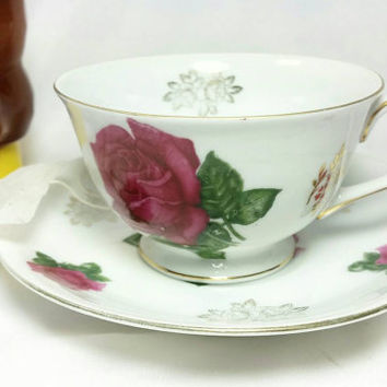 Vintage Yada China Made in Japan Teacup and Saucer/Pink Rose with Gold Trim Cup and Saucer/Tea Time Cup and Saucer