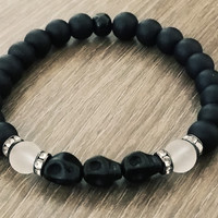 Men's Bracelet-Black howlite skull frosted black Beaded bracelet set- Man Jewelry