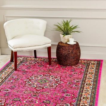 3045 Pink Colorful Isfahan Oriental Area Rugs