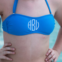 Youth Girls Juniors Monogram Bandeau Bikini Swim Top   Black Pink Blue