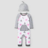 Baby Girls' 2 Piece Heart Coverall Set Baby Cat & Jack™ - Pink/Heather Grey