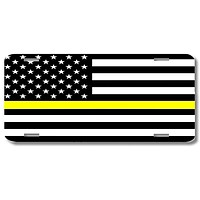 Thin Yellow Line Support Dispatchers Print License Plate Car Tag
