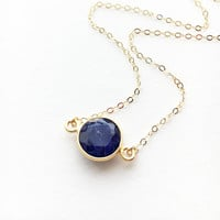 Sapphire Necklace • Gold Sapphire Necklace • September Birthstone necklace • Bridesmaid necklace • Blue Sapphire Necklace • Genuine Sapphire