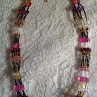 Long Necklace - Pink Long Necklace - It's Been a Pinky Long Time - Multistrand Necklace - Statement Necklace