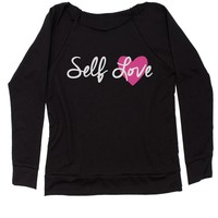 Self Love Slouchy Off Shoulder Oversized Sweatshirt