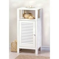 White Bathroom Wood Storage Cabinet w/ 2 Open Shelves
