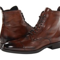 Mens leather boot, Men brown ankle high boot, Men lace up boot