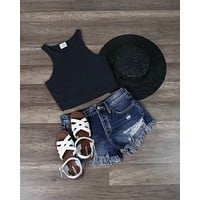 Honey Punch - Everyday Ribbed Knit Crop Top in Charcoal